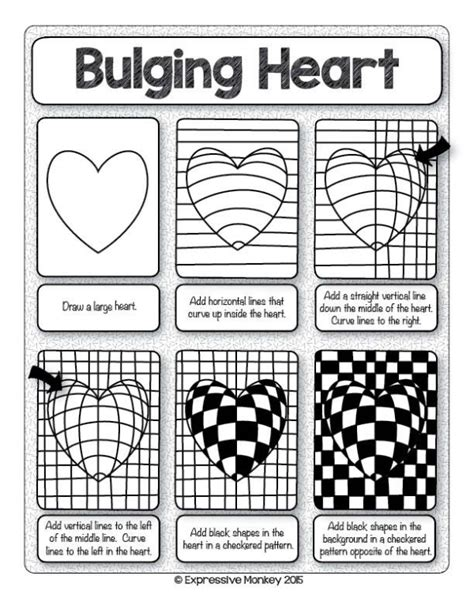 printable optical illusions lesson plans make this op art heart with step by step instructions