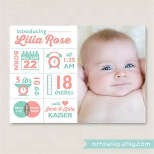 infographic birth announcement customized photo card for