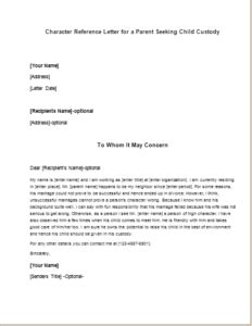 Character Reference Letter For Your Child character reference letter for a parent seeking child custody writeletter2
