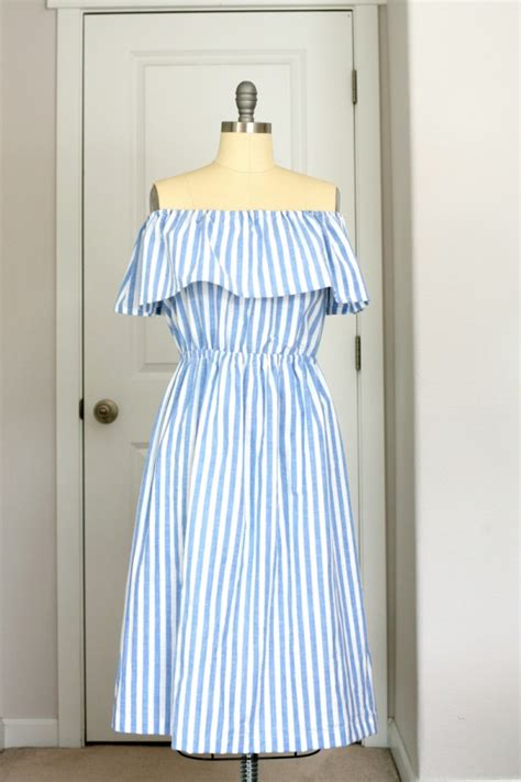 White Stripe Shoulder Dress the shoulder blue and white stripe dress by create