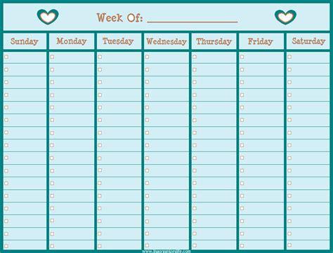 Free Printable Blank Weekly Calendar Template