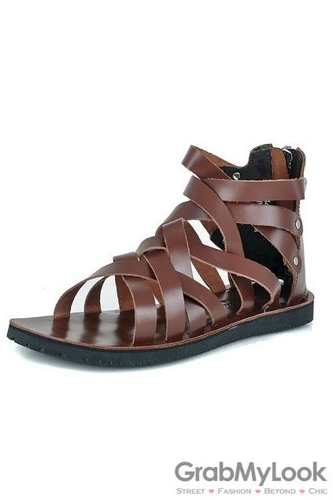 mens leather gladiator sandals leather straps boots ankle mens brown gladiator