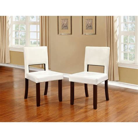 linon home decor linon home decor vega white pu dining chair set of 2