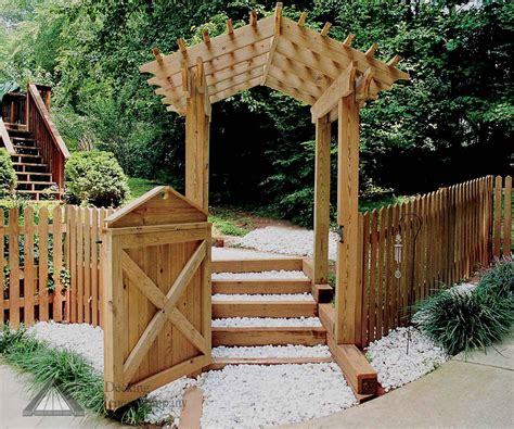 Garden Arbor And Fence Arbor Gates Fence With Fancy Gate And Gabled Walk