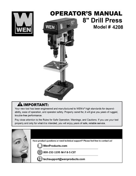 Wen 4208 8 Inch 5 Speed Drill Press User Manual 22 Pages