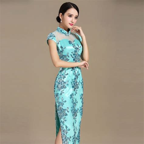 Lace Qipao charming embroidery lace qipao dress cheongsam