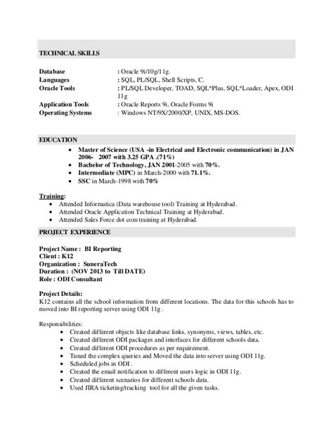 pl sql developer resume sle pl sql developer resume sle agenda for meeting template