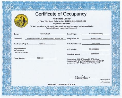 certificate of occupancy template gallery templates