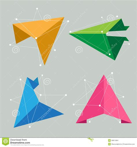 Origami Concept - abstract 3d origami paper infographics vector