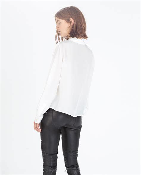 Zara Bordir Blouse 1 zara silk blousen with shirt collar in white lyst