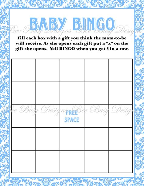 Free Printable Baby Shower Bingo Template printable blue damask baby shower bingo bee busy