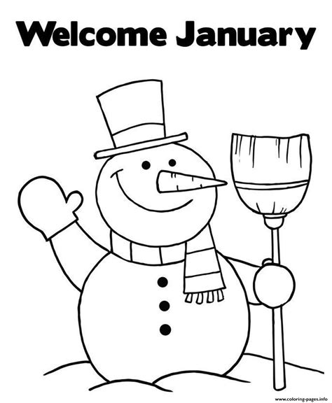 january color welcome january snowman s5f24 coloring pages printable