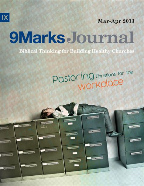 church discipline medicine for the 9marks journal books pastoring christians for the workplace 9marks