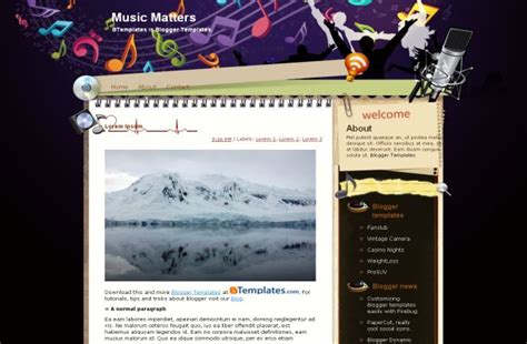 templates for blogger music grunge vector music css template download