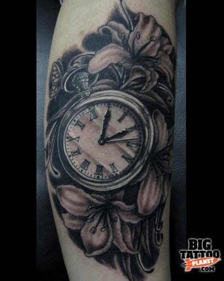 tattoo flower clock 19 wonderful grey ink clock tattoos