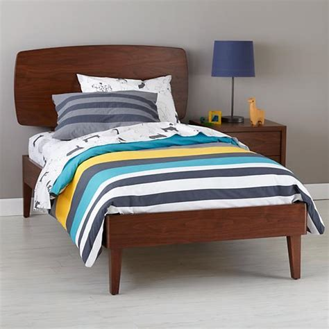 land of nod bed walnut retro ellipse bed the land of nod
