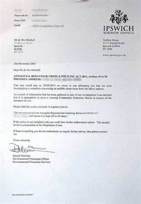 Noise Complaint Letter From Council 163 5 000 For Installing Anti Child Noise Repellant Outside Their Home Telegraph