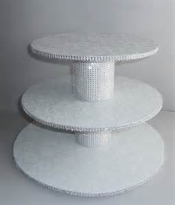 Buffet Table Risers 3 Tier Bling White Wedding Cake Cupcake Stand Tower Display