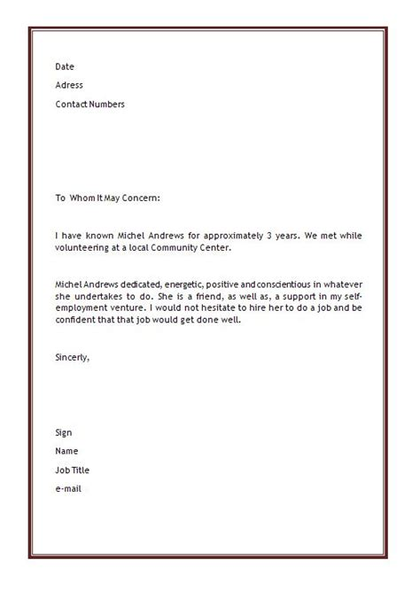 Character Letter For Youth Personal Letter Of Recommendation Template