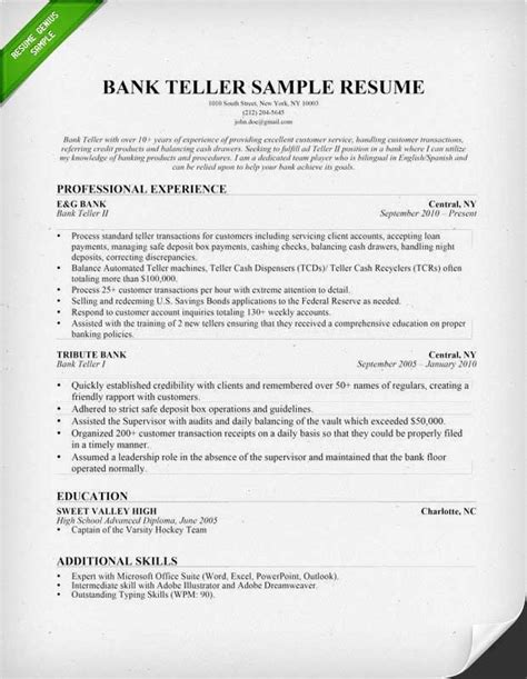 Bank Teller Resume by Teller Duties Resume Best Resume Gallery