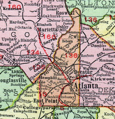 Fulton County Ga Search Fulton County 1911 Map Rand Mcnally Atlanta Roswell East Point