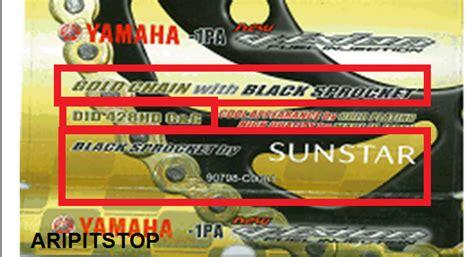 Rantai Keteng Yamaha Asli aripitstop 187 yamaha siapkan rantai gold chain kit merk d i d dengan black sprocket by sunstar