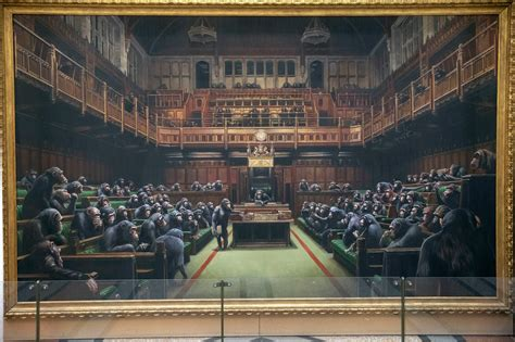banksys devolved parliament painting  mps  chimps