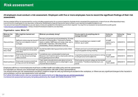 hse template health and safety implications risk assessment report
