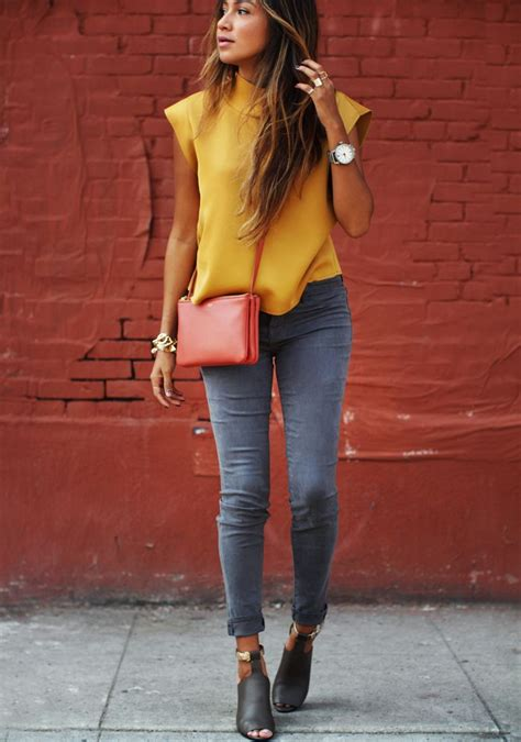 autumn 2015 fashion for big women nice mix of autumn colors grey jeans and orange blouse