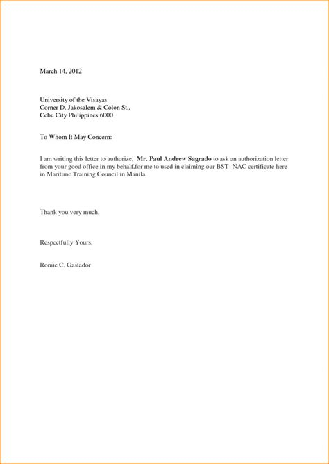 authorization letter format to collect letter of authorization sle letter format writing