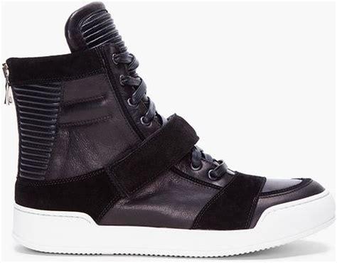balmain sneakers mens balmain black ribbed tongue sneakers in black for lyst