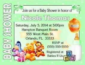 20 winnie the pooh baby shower invitations green polkadot
