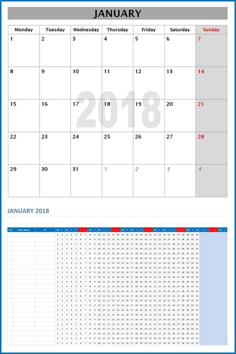 Microsoft Word Monthly Calendar Template