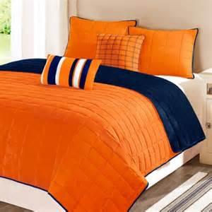 Solid Navy Quilt Solid Microfiber Orange Navy Blue Quilt Walmart