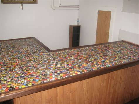 beer bottle cap bar top sweet bar top outdoor kitchen pinterest