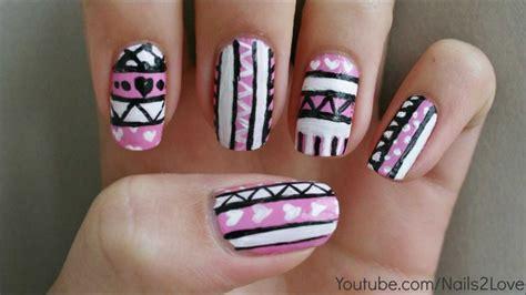 tutorial nail art aztec pink hearts tribal aztec nail art tutorial youtube