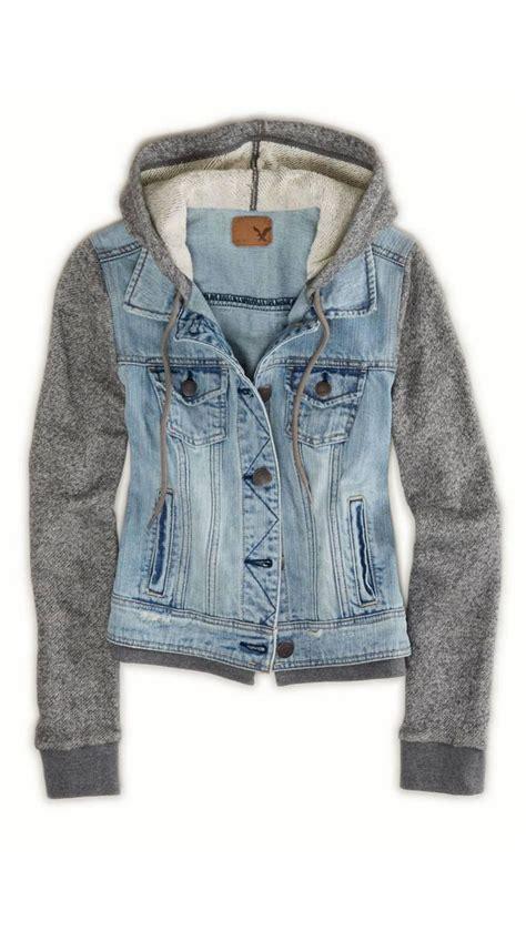 Jaket Hodie Inspire denim jean jacket with flannel sleeves vintage inspire
