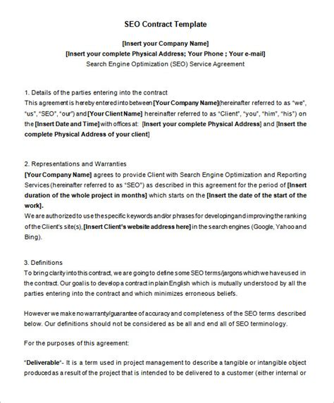 editable contract template 5 seo contract templates free word pdf format