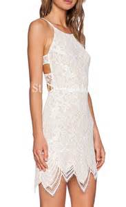Home party dresses off white lace backless guava mini dress