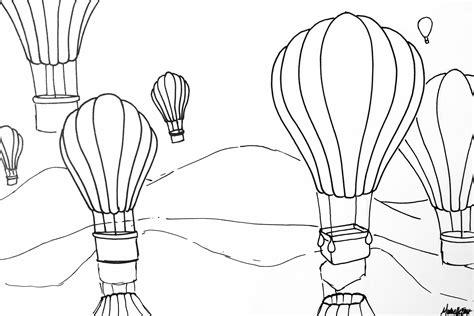 rhythmic pattern drawing hot air balloon rhythm pattern variety watercolor