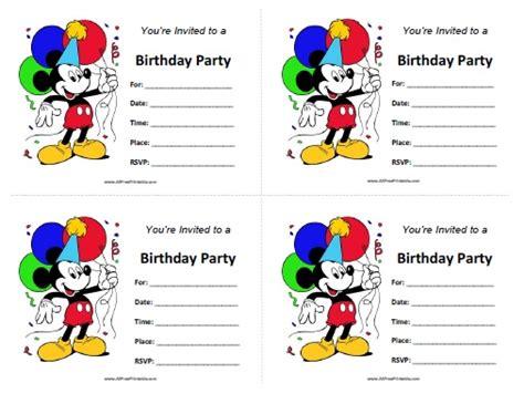mickey mouse birthday invitations free printable