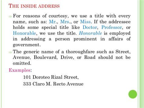 business letter inside address title business letters