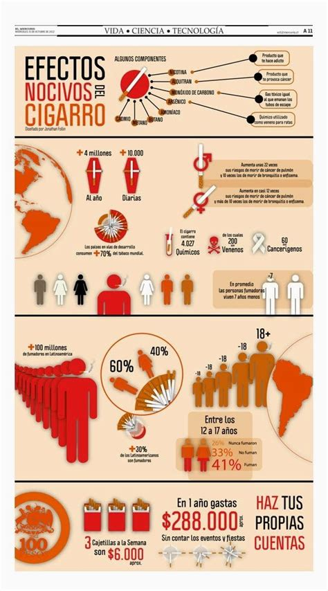 Efectos Del Cigarrillo | infografia curiosidades efectos nocivos del cigarrillo