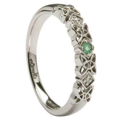 celtic knot ring with emerald diamonds