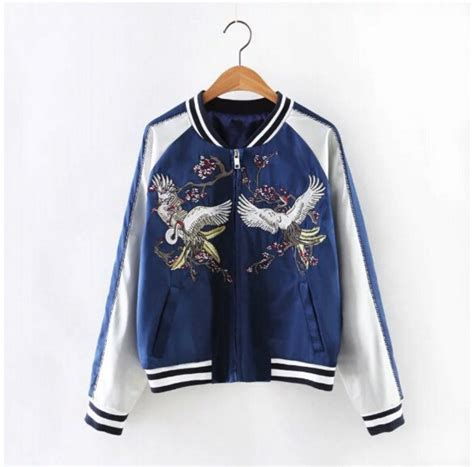Jaket Bomber Cuople Sensor harajuku crane flower embroidery jacket bomber pilots baseball outerwear ebay