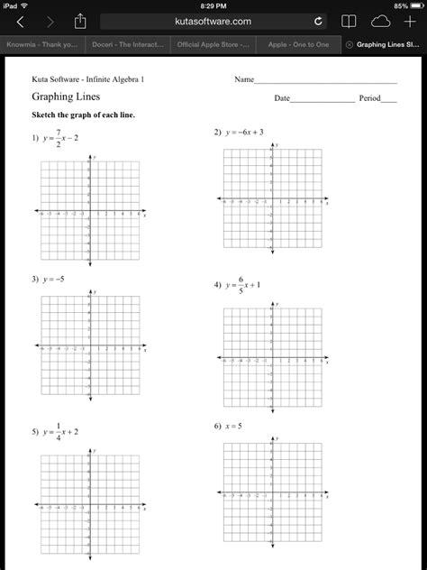 algebra  graphing linear equations worksheet