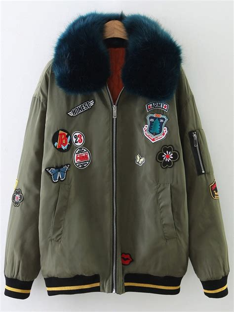 design jacket patch jackets army green padded fur collar patch design bomber