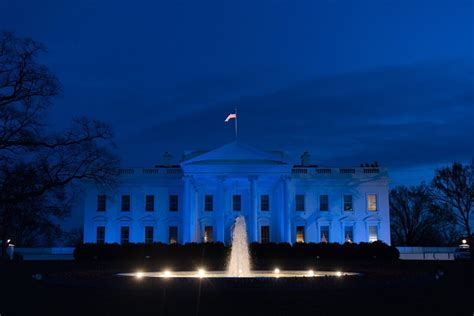 blue and white house trump orders white house lit blue to honor fallen police