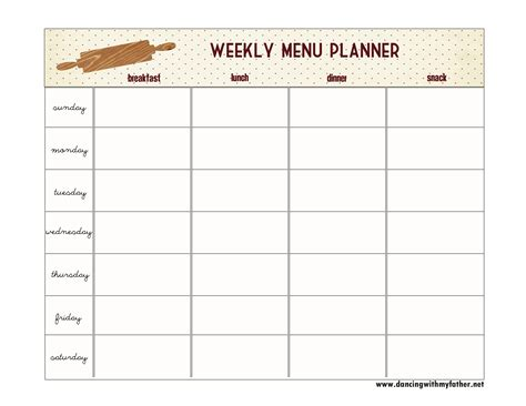 printable blank dinner menu planner 7 best images of blank printable weekly menu planner