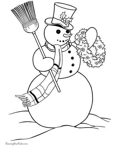 snowman scene coloring page christmas snowman coloring pages